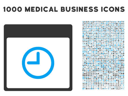 clockface: Blue And Gray Time Calendar Page vector icon with 1000 medical business pictograms. Set style is flat bicolor symbols, blue and gray colors, white background.