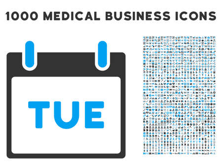 tuesday: Blue And Gray Tuesday Calendar Page vector icon with 1000 medical business pictograms. Set style is flat bicolor symbols, blue and gray colors, white background.