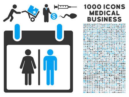 Azul y gris del armario de agua del calendario Día del icono del vector con 1000 pictogramas de negocios médica. conjunto de estilos es bicolor símbolos planas, los colores azul y gris, fondo blanco. Ilustración de vector