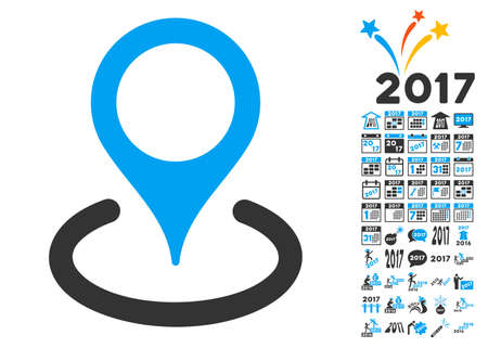 Location pictograph with bonus 2017 new year clip art. Glyph illustration style is flat iconic symbols, blue and gray colors, white background. Stock Photo