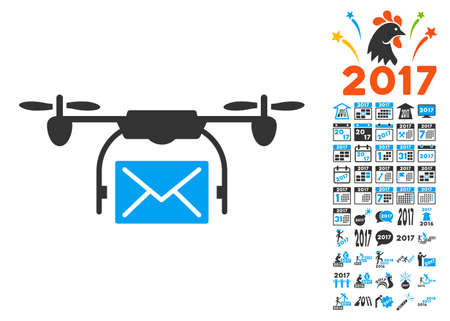 mail delivery: Mail Delivery Drone icon with bonus 2017 new year images. Glyph illustration style is flat iconic symbols, blue and gray colors, white background. Stock Photo
