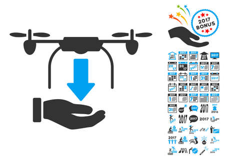 unload: Unload Drone Hand icon with bonus 2017 new year clip art. Glyph illustration style is flat iconic symbols, blue and gray colors, white background.