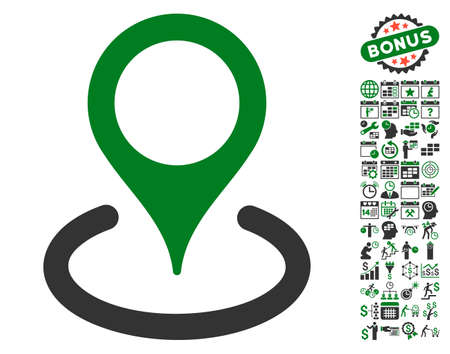 Location icon with bonus calendar and time management clip art. Glyph illustration style is flat iconic symbols, green and gray colors, white background.