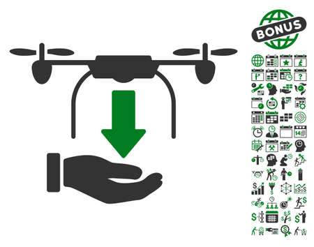 unload: Unload Drone Hand icon with bonus calendar and time service icon set. Glyph illustration style is flat iconic symbols, green and gray colors, white background.