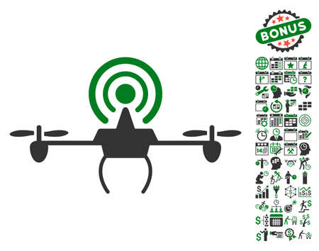 Wifi Repeater Drone icon with bonus calendar and time service design elements. Glyph illustration style is flat iconic symbols, green and gray colors, white background.