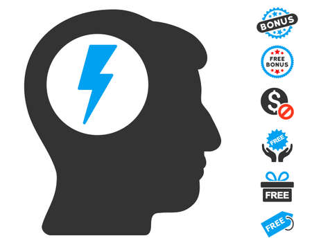 free the brain: Brain Electric Shock icon with free bonus clip art. Glyph illustration style is flat iconic symbols, blue and gray colors, white background. Stock Photo
