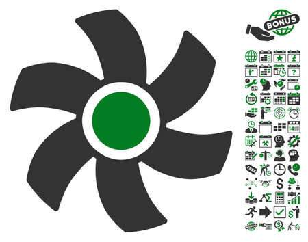 rotor: Rotor pictograph with bonus calendar and time management icon set. Glyph illustration style is flat iconic symbols, green and gray colors, white background.