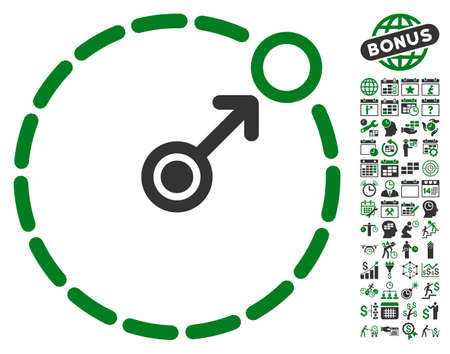 zonal: Round Area Border pictograph with bonus calendar and time management graphic icons. Glyph illustration style is flat iconic symbols, green and gray colors, white background.