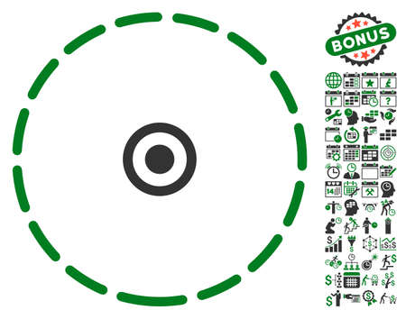 zonal: Round Area icon with bonus calendar and time management clip art. Glyph illustration style is flat iconic symbols, green and gray colors, white background.