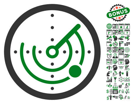 localization: Radar pictograph with bonus calendar and time service pictograph collection. Glyph illustration style is flat iconic symbols, green and gray colors, white background.