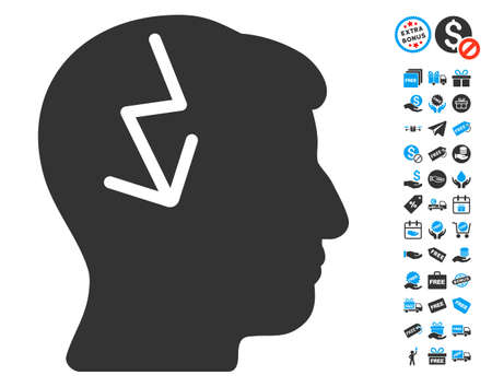 free the brain: Brain Electric Strike icon with free bonus symbols. Glyph illustration style is flat iconic symbols, blue and gray colors, white background.