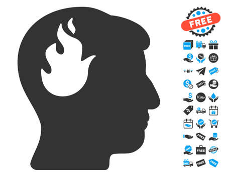 free the brain: Brain Fire pictograph with free bonus images. Glyph illustration style is flat iconic symbols, blue and gray colors, white background.