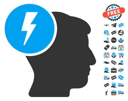 ruch: Brain Electricity icon with free bonus design elements. Glyph illustration style is flat iconic symbols, blue and gray colors, white background.