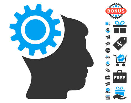 free the brain: Brain Gear icon with free bonus graphic icons. Glyph illustration style is flat iconic symbols, blue and gray colors, white background.