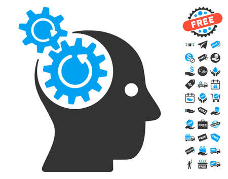 free the brain: Brain Gears Rotation icon with free bonus pictures. Glyph illustration style is flat iconic symbols, blue and gray colors, white background. Stock Photo