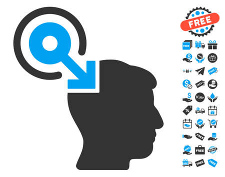 free the brain: Brain Interface Plug-In icon with free bonus symbols. Glyph illustration style is flat iconic symbols, blue and gray colors, white background. Stock Photo