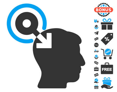 plugin: Brain Interface Plug-In pictograph with free bonus pictograms. Glyph illustration style is flat iconic symbols, blue and gray colors, white background.
