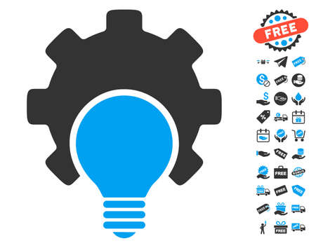 Bulb Configuration Gear icon with free bonus images. Glyph illustration style is flat iconic symbols, blue and gray colors, white background.