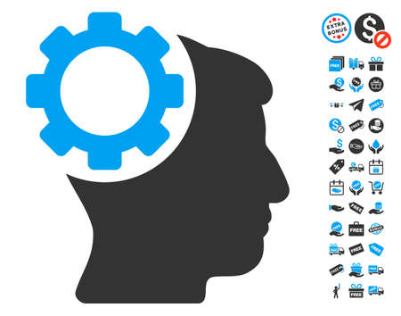 free the brain: Brain Gear icon with free bonus pictograph collection. Glyph illustration style is flat iconic symbols, blue and gray colors, white background. Stock Photo