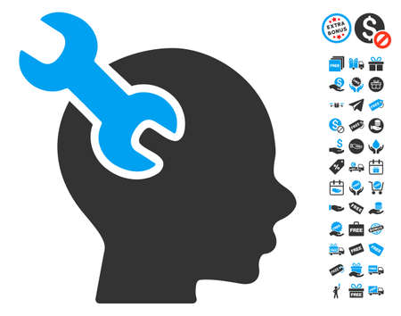 free the brain: Brain Service Wrench pictograph with free bonus clip art. Glyph illustration style is flat iconic symbols, blue and gray colors, white background.