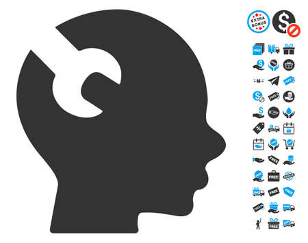 free the brain: Brain Wrench Tool icon with free bonus graphic icons. Glyph illustration style is flat iconic symbols, blue and gray colors, white background.
