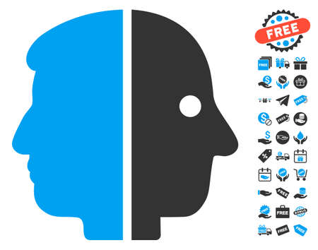 janus: Dual Face icon with free bonus images. Glyph illustration style is flat iconic symbols, blue and gray colors, white background. Stock Photo