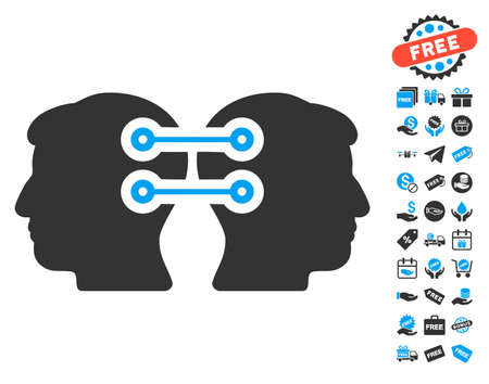 Dual Heads Interface Connection Icon With Free Bonus Images... Stock ...