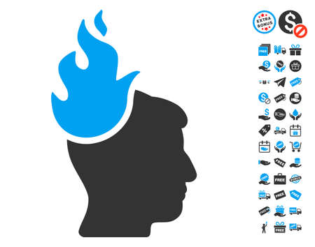 ruch: Fired Head icon with free bonus pictograms. Glyph illustration style is flat iconic symbols, blue and gray colors, white background.