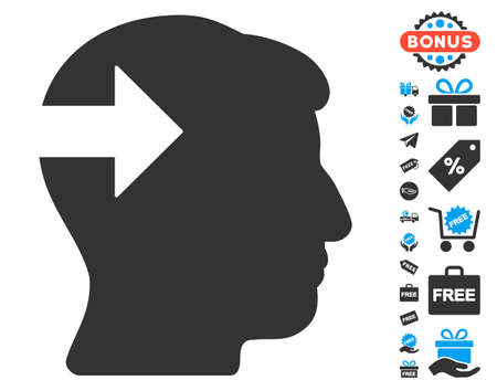 plugin: Head Plug-In Arrow icon with free bonus pictograph collection. Glyph illustration style is flat iconic symbols, blue and gray colors, white background.