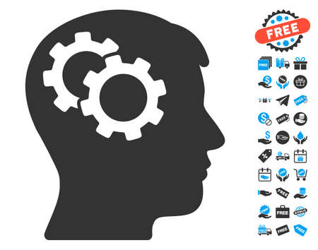 robo: Intellect Gears icon with free bonus icon set. Glyph illustration style is flat iconic symbols, blue and gray colors, white background.