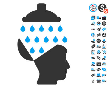 free the brain: Open Brain Shower icon with free bonus pictures. Glyph illustration style is flat iconic symbols, blue and gray colors, white background.
