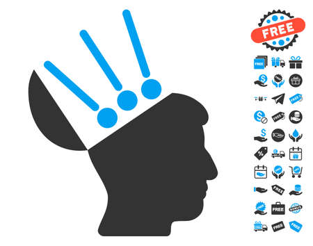 Open Mind Interface pictograph with free bonus pictograph collection. Glyph illustration style is flat iconic symbols, blue and gray colors, white background. Stock Photo