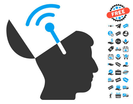 cerebra: Open Mind Radio Interface icon with free bonus pictograph collection. Glyph illustration style is flat iconic symbols, blue and gray colors, white background.