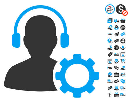 hotline: Operator Configuration Gear pictograph with free bonus design elements. Glyph illustration style is flat iconic symbols, blue and gray colors, white background.