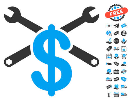 Repair Service Price pictograph with free bonus pictograph collection. Glyph illustration style is flat iconic symbols, blue and gray colors, white background.