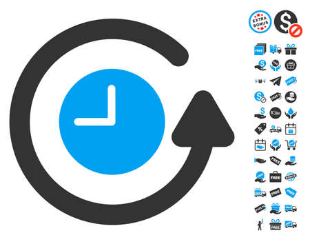 sync: Restore Clock pictograph with free bonus symbols. Glyph illustration style is flat iconic symbols, blue and gray colors, white background. Stock Photo