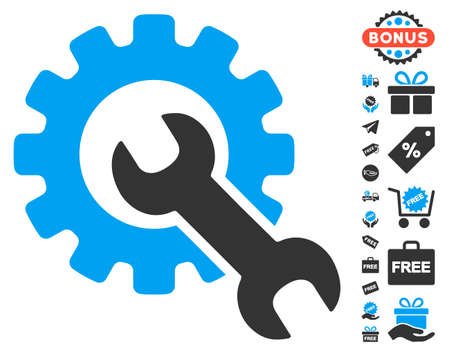 Service Tools pictograph with free bonus design elements. Glyph illustration style is flat iconic symbols, blue and gray colors, white background.