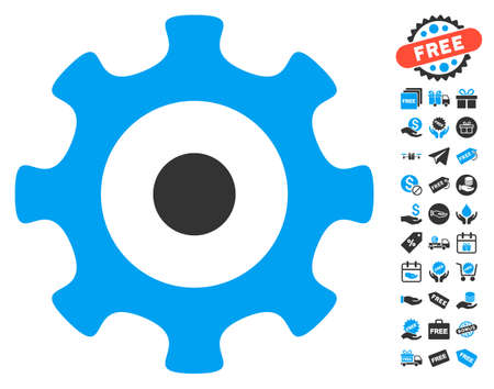 Gear pictograph with free bonus icon set. Glyph illustration style is flat iconic symbols, blue and gray colors, white background.