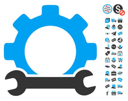 power wrench: Service Tools pictograph with free bonus graphic icons. Glyph illustration style is flat iconic symbols, blue and gray colors, white background. Stock Photo
