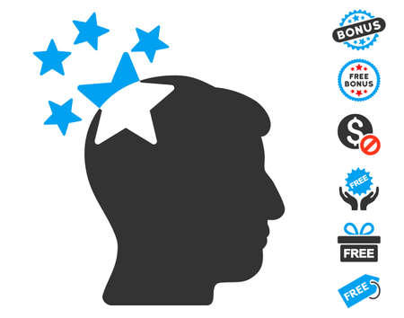 ruch: Stars Hit Head icon with free bonus icon set. Glyph illustration style is flat iconic symbols, blue and gray colors, white background. Stock Photo