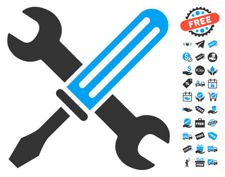 Tools pictograph with free bonus graphic icons. Glyph illustration style is flat iconic symbols, blue and gray colors, white background.