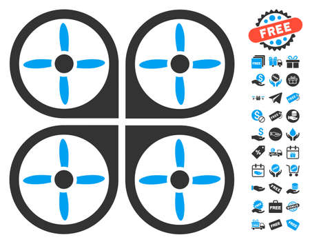 Copter icon with free bonus design elements. Glyph illustration style is flat iconic symbols, blue and gray colors, white background. Stock Photo