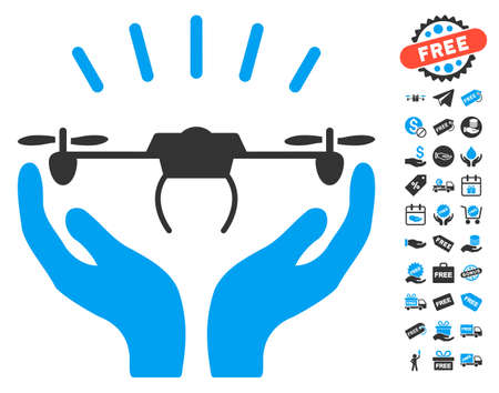 Drone Launch Hands pictograph with free bonus graphic icons. Glyph illustration style is flat iconic symbols, blue and gray colors, white background.