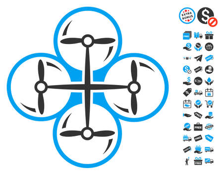 Drone Screws icon with free bonus graphic icons. Glyph illustration style is flat iconic symbols, blue and gray colors, white background.