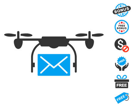 mail delivery: Mail Delivery Drone pictograph with free bonus graphic icons. Glyph illustration style is flat iconic symbols, blue and gray colors, white background. Stock Photo