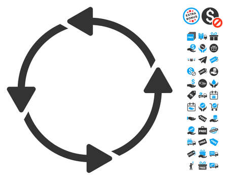 Rotation CCW pictograph with free bonus icon set. Glyph illustration style is flat iconic symbols, blue and gray colors, white background. Stock Photo