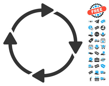 sync: Rotation pictograph with free bonus clip art. Glyph illustration style is flat iconic symbols, blue and gray colors, white background.