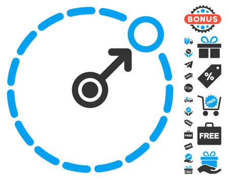 bounds: Round Area Border icon with free bonus pictures. Glyph illustration style is flat iconic symbols, blue and gray colors, white background.