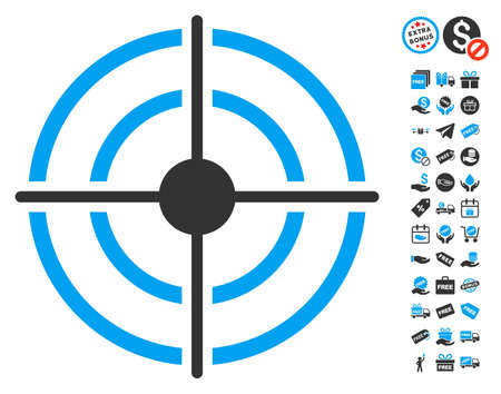 Target pictograph with free bonus pictograms. Glyph illustration style is flat iconic symbols, blue and gray colors, white background.
