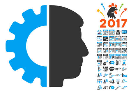 Android Head pictograph with bonus 2017 new year pictograms. Glyph illustration style is flat iconic symbols,modern colors, rounded edges.